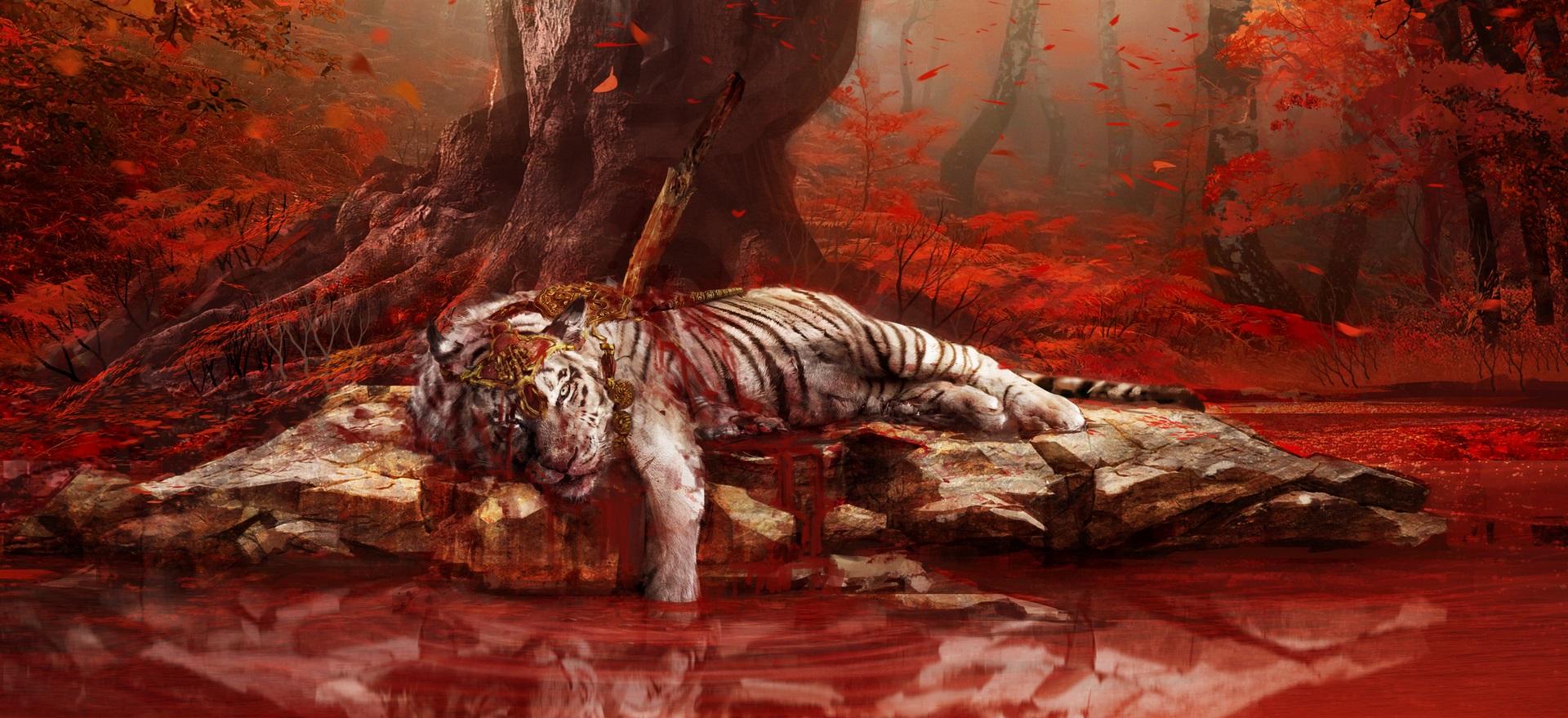 Shangri la injured tiger artwork