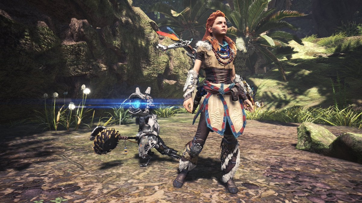 Monster Hunter World Quest Features Aloys Outfit From Horizon Zero